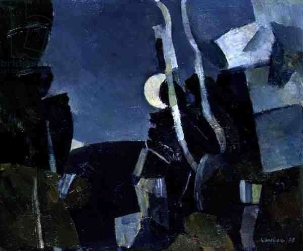 Moon and Rocks on Ben Gairn, 1955 (oil on board)