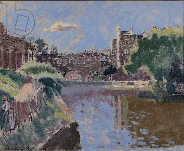 Pulteney Bridge, Bath, 1918 (oil on canvas)