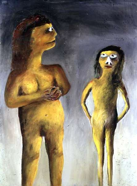 Two Standing Naked Women, c.1945-7 (ripolin on board)