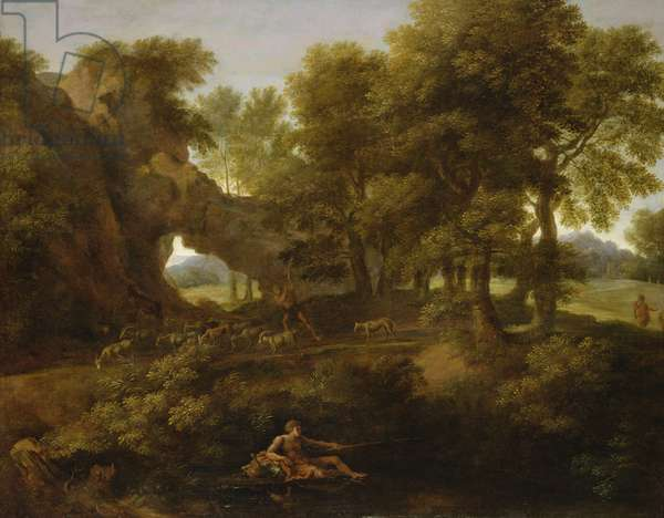Landscape with a fisherman, a shepherd and other figures (oil on canvas)