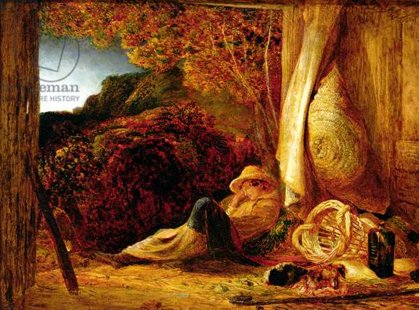 The Sleeping Shepherd, 1834 (tempera with oil glaze on paper, laid on panel)