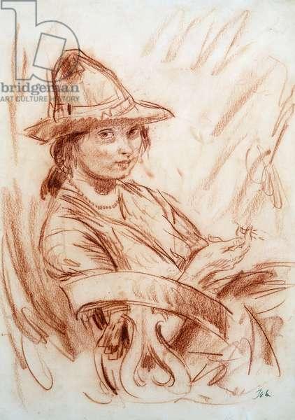 Dorelia Smoking (red chalk on paper)