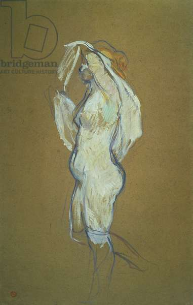 Woman Lifting her Shirt, 1896 (oil on cardboard)