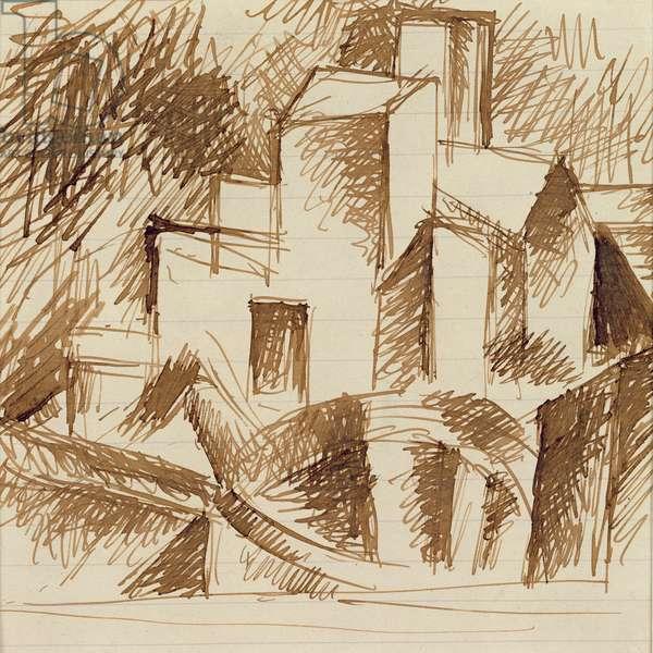 Village houses (study for the 'Horta Reservoir'), Horta de Ebro, summer, 1909 (ink on paper)