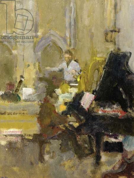 Rehearsals in a Church (oil on canvas)