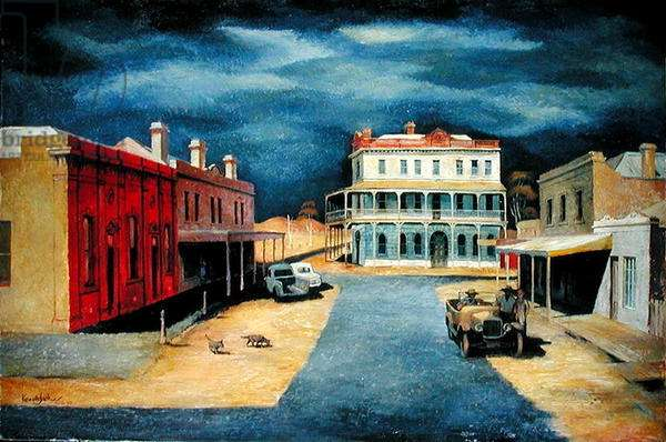 Main Street, 1955 (oil on board)