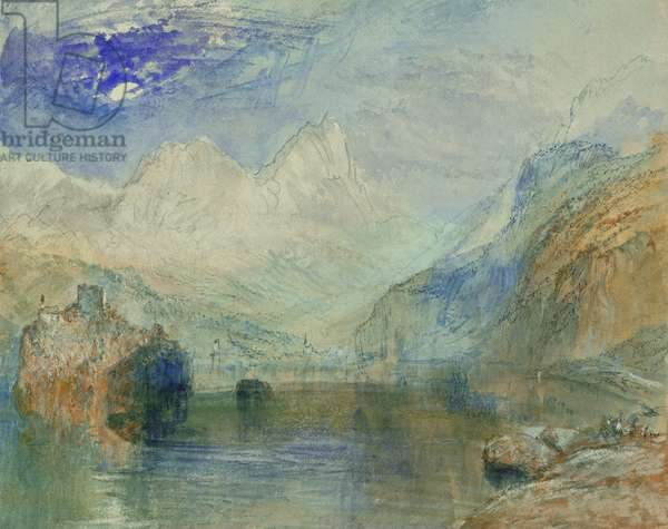 The Lauerzersee with Schwyz and the Mythen (watercolour on paper)