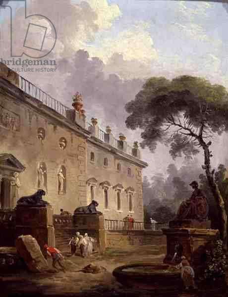 Terrace of the Villa Madama (oil on panel)