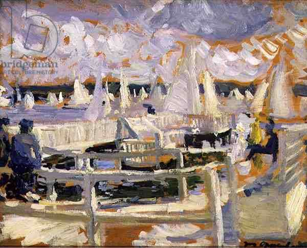 Boating on tha Wannsee, Berlin, 1903 (oil on panel)