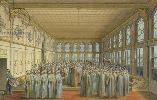 The reception of an Ambassador by the Grand Vizier at Topkapi Palace, Constantinople, 1790 (w/c & bodycolour with chalk, pen and ink on paper)