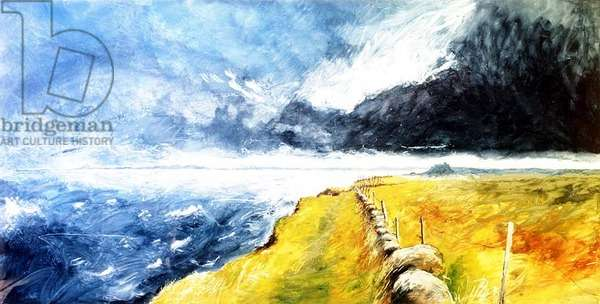 Lindisfarne Castle with Bamburgh beyond, 1989 (mixed media on paper)