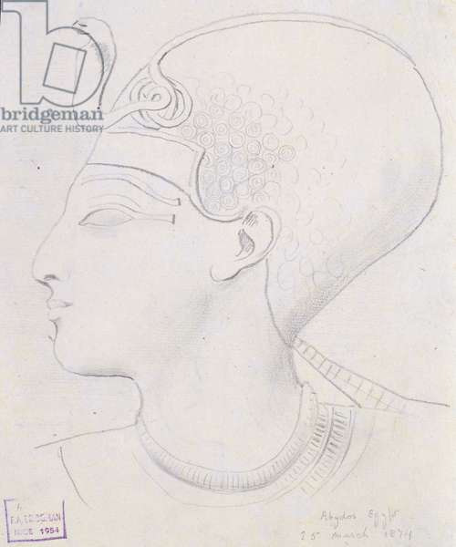 Study of a Relief of the Head of Seti I (1394-1279 BC) in the Temple of Seti I, Abydos, 1874 (pencil on paper)