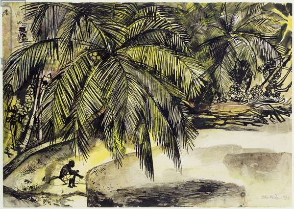 The Beach, Ocho Rios, Jamaica (pencil, pen & w/c on paper)