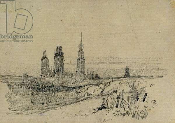 Rouen Cathedral (pencil & black chalk)
