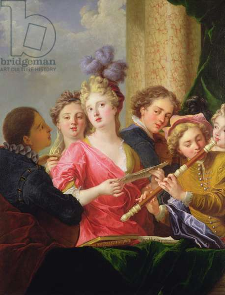 A Music Party (oil on canvas)