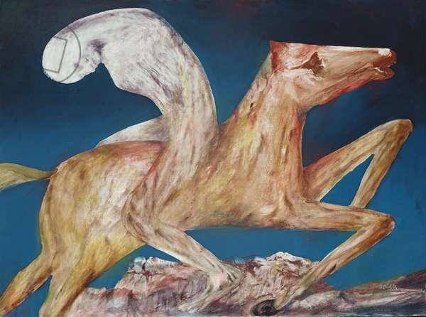 Pale Figure on a Horse, 1956 (ripolin on board)