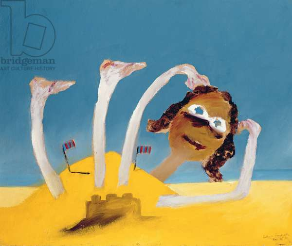 Bather and Sandcastle, 1945 (ripolin on cardboard)