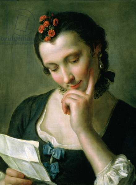 A Young Woman reading a Love Letter (oil on canvas)