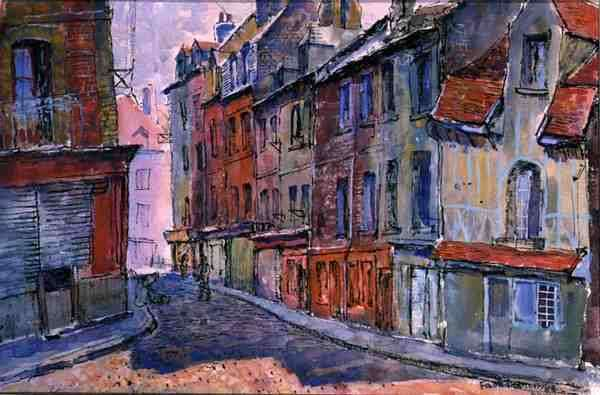 Street Scene, Dieppe, 1948 (w/c and ink on paper)