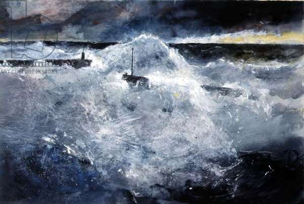 Stormy Sea, Staithes Harbour, 1988 (w/c & pastel on paper)