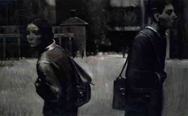 Two People Passing in the Street, 1997 (oil on canvas)