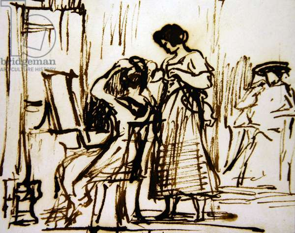 An Interior with a Woman Dressing her Hair (ink on paper)