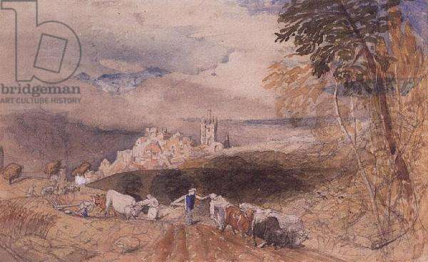 Hilly Landscape with Farmers Ploughing (w/c)