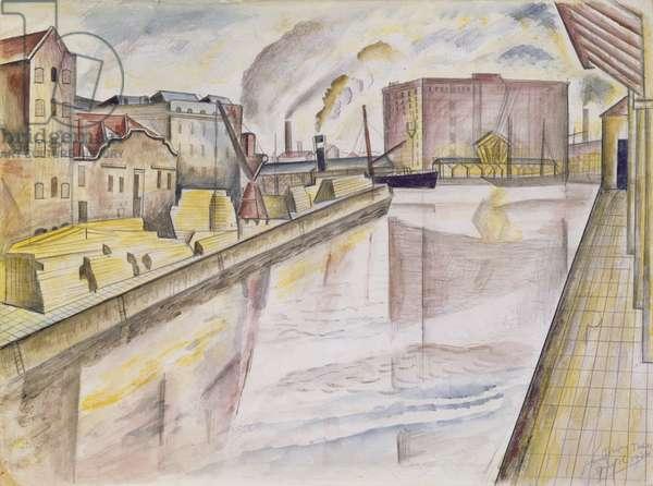 Bristol Docks, 1926 (pencil and w/c on paper)