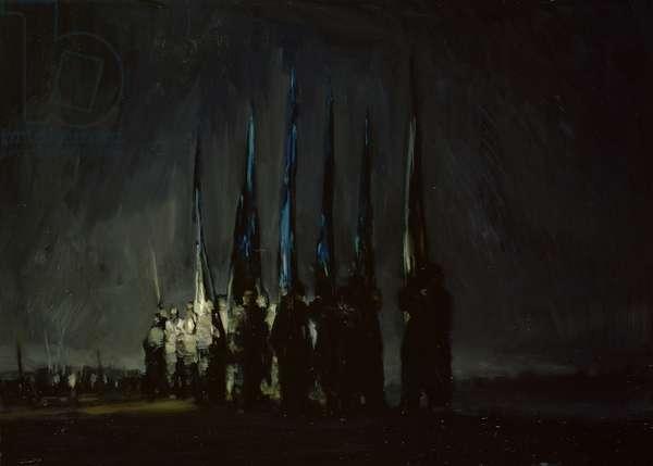 Return of the Flag Wavers (oil on canvas)