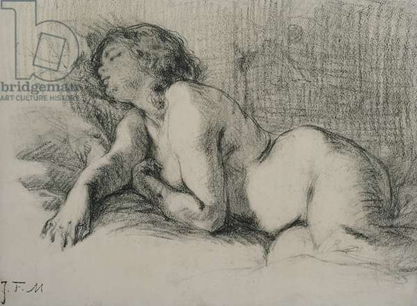Study of a reclining female nude (charcoal on paper)