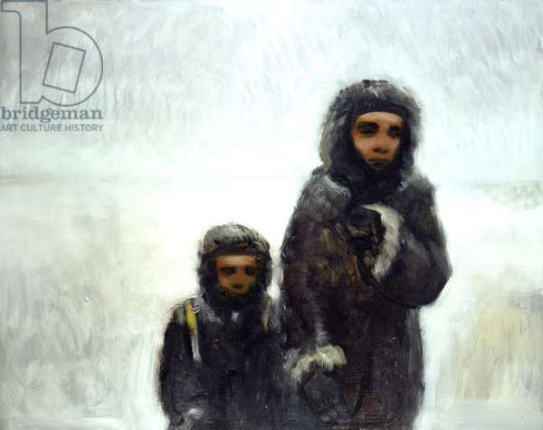 Mother and Child in the Snow (oil on canvas)
