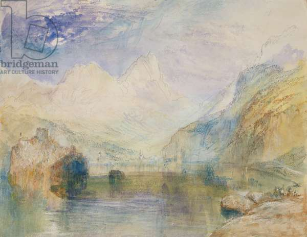 The Lauerzersee with Schwyz and the Mythen (w/c on paper)