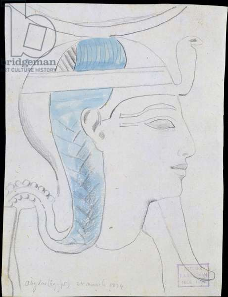 Study of a Relief of the Head of the God Khonsu in the Temple of Seti I, Abydos, 1874 (pencil & w/c on paper)