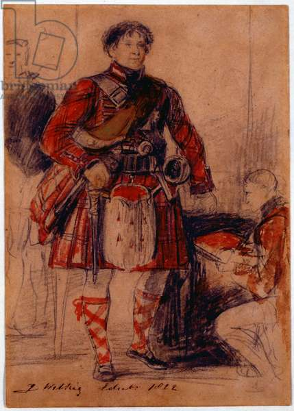 George IV in Highland Dress at the Palace of Holyrood, 1822 (chalk & w/c on paper)