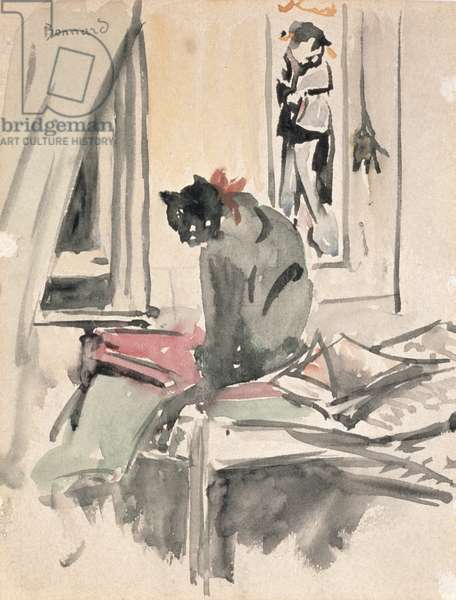Cat Sitting by a Window (w/c on paper)