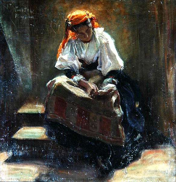 Girl with a Book, c.1900 (oil on canvas)