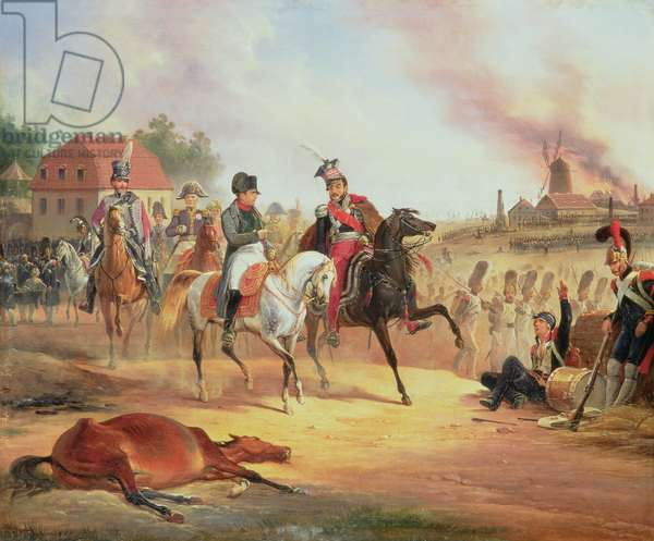 Napoleon and Prince Joseph Poniatowski at the Battle of Leipzig, 19th October 1813, 1837 (oil on canvas)