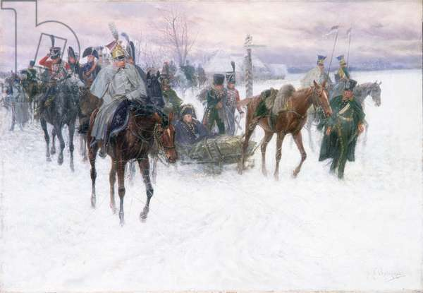 Napoleon's Troops Retreating from Moscow, 1888-89 (oil on canvas)