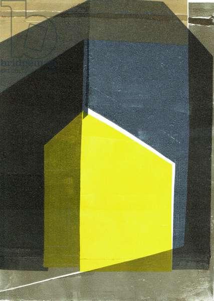Oblique V, 2020, monoprint on paper