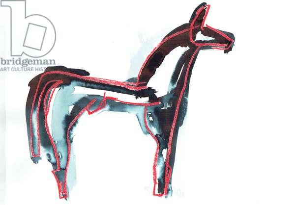 Horse III, 2016, (oil pastel & fabric dye on paper)