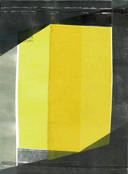 Oblique I, 2020, monoprint on paper