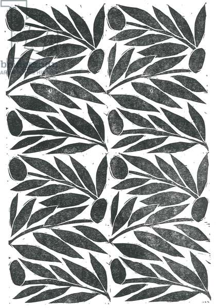 Olive Branches, 2015, (linocut on paper)