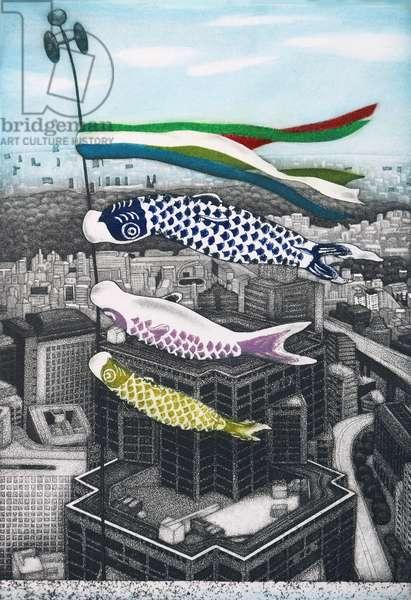 Koinobori, 2007, (etching)