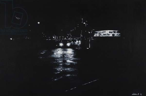 North Greenwich, night scene, road, London,  2016 (oil and acrylic on canvas)
