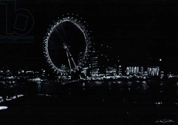 London Eye, Black & White (ink drawing), 2016