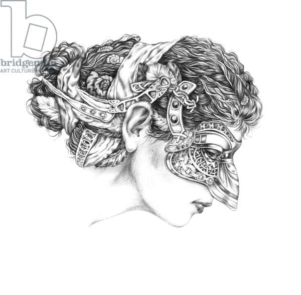 Venetian carnival,Colombina, 2012, pencil on paper