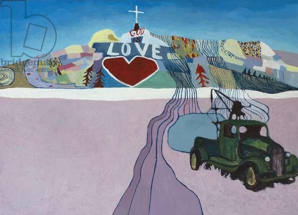 Meet me at Salvation mountain, 2015, (acrylic on canvas)
