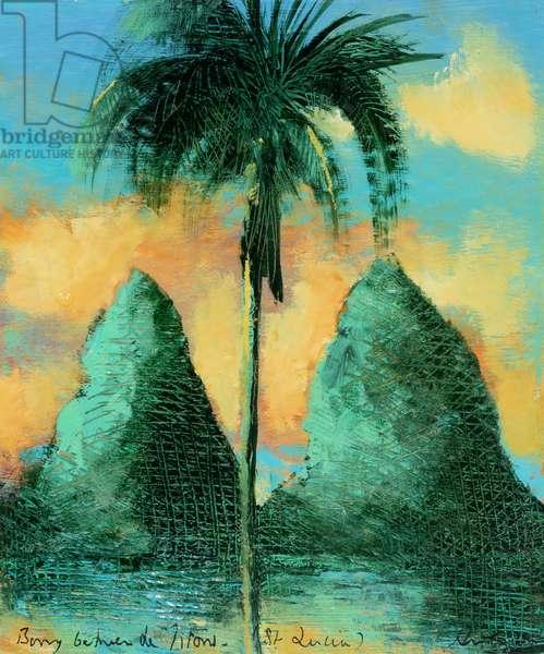 Twin peaks , St Lucia, 2020 (oil on card)
