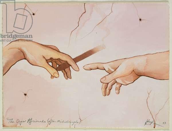 The Cigar Afficionado, 1989 (watercolour)