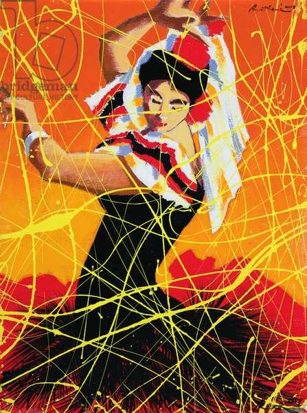 Flamenco Fiesta, 1997 (oil on wood)